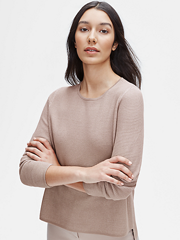 Silk & Organic Cotton Crew Neck Top
