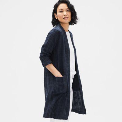 Textured Organic Linen Stripe Long Jacket