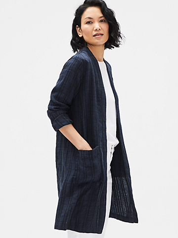 Textured Organic Linen Stripe Long Jacket