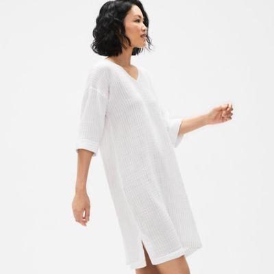 Organic Cotton Gauze Striped V-Neck Dress
