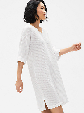 Organic Cotton Gauze Striped V-Neck Dress
