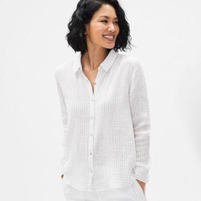 Organic Cotton Gauze Striped Classic Collar Shirt