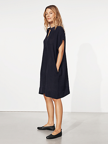 Puckered Organic Linen Shirtdress