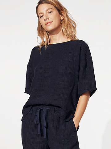 Puckered Organic Linen Jewel Neck Box-Top