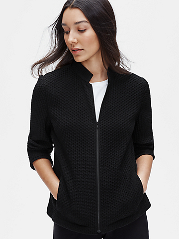 Tencel & Organic Cotton Honeycomb Zip Jacket