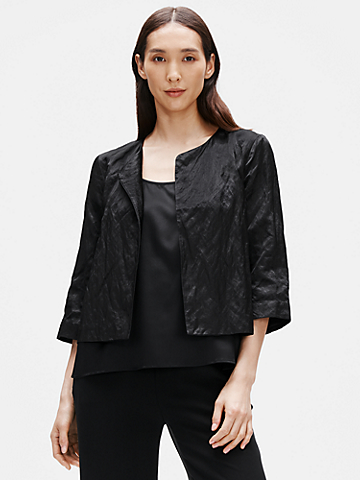Organic Cotton Satin Steel Short Jacket