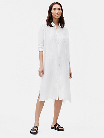 Silk Habutai Check Shirtdress