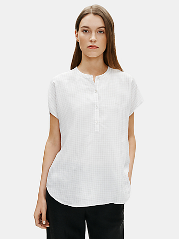 Silk Habutai Check Mandarin Collar Shirt