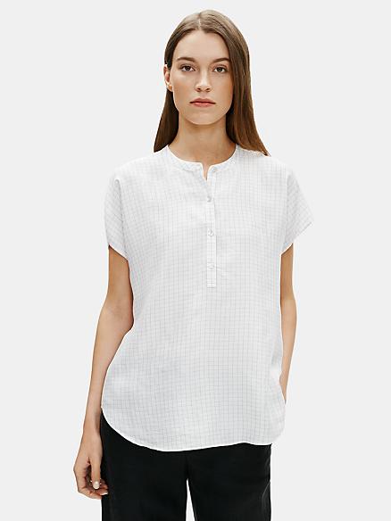 Eileen Fisher Womens Velvet Mandarin Collar Top Blouse Shirt BHFO 8864