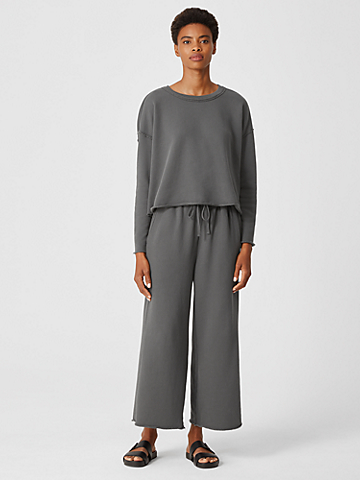 Organic Cotton French Terry Wide-Leg Pant