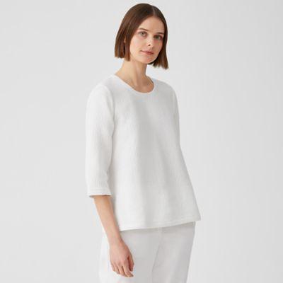 Textured Cotton Ripple Round Neck Top