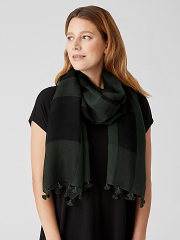 Sheer Silk Organic Cotton Grid Scarf