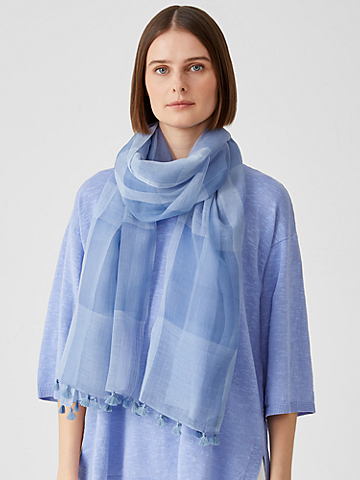 Sheer Silk Organic Cotton Grid Scarf
