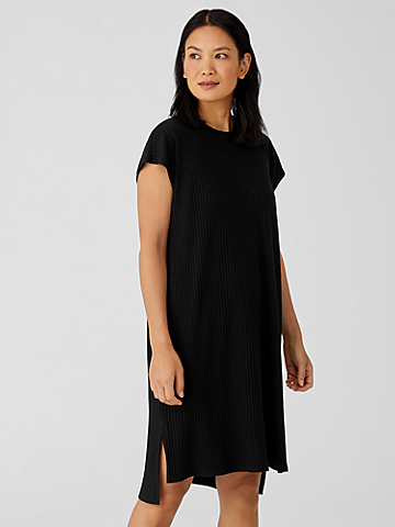Textured Stretch Rib Crew Neck Dress