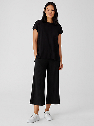 Textured Stretch Rib Wide-Leg Pant