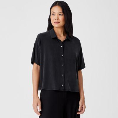 Sandwashed Cupro Knit Short-Sleeve Shirt