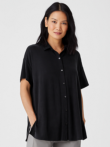 Sandwashed Cupro Knit Short-Sleeve Long Shirt