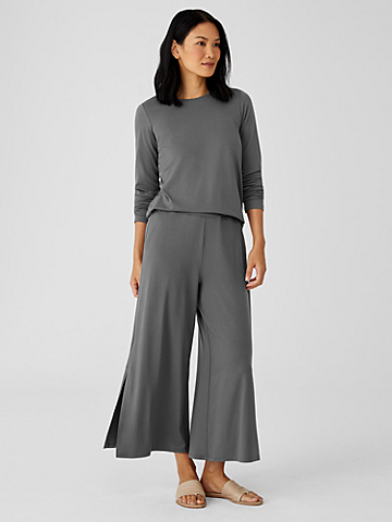 Fine Jersey Wide-Leg Pant with Slits