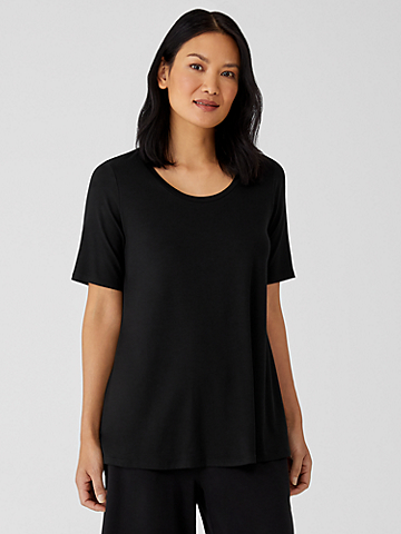 Fine Jersey Elbow-Sleeve Top