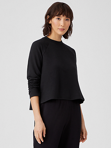 Cozy Brushed Terry Raglan-Sleeve Box-Top