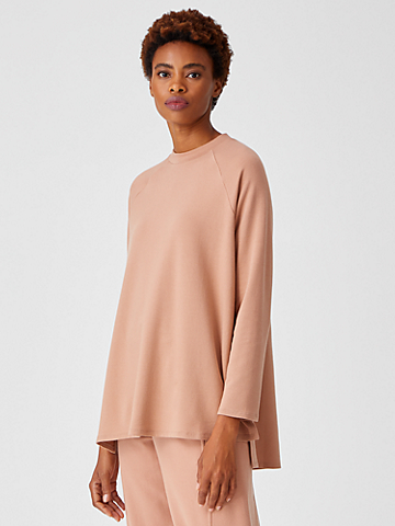 Cozy Brushed Terry Raglan-Sleeve Tunic