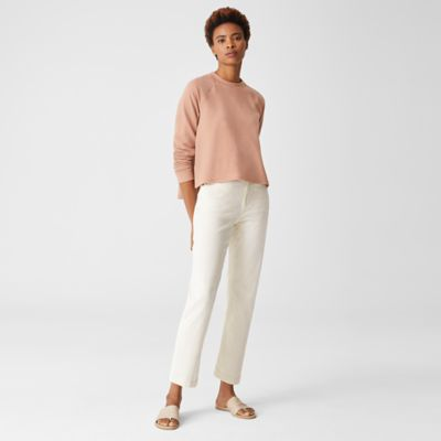 Undyed Organic Cotton Stretch Straight Ankle Jean