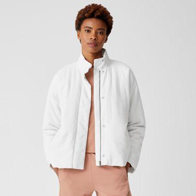 Organic Linen Cotton Crepe Padded Short Coat
