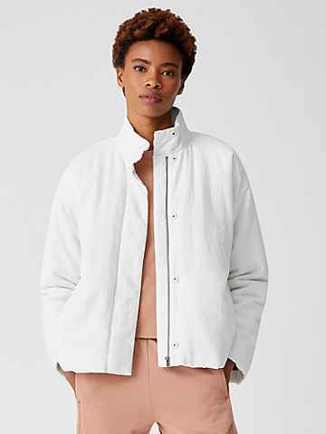 Organic Linen Cotton Crepe Padded Short Coat