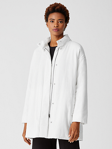 Organic Linen Cotton Crepe Padded Long Coat