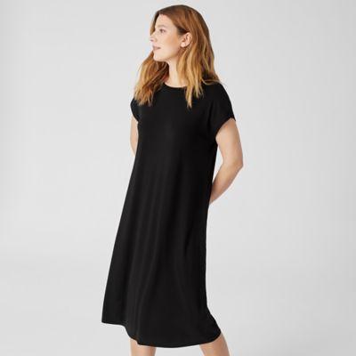 Stretch Silk Jersey Crew Neck Dress