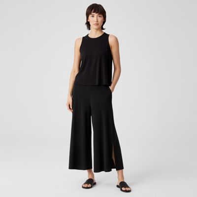 Stretch Silk Jersey Wide-Leg Pant with Slits