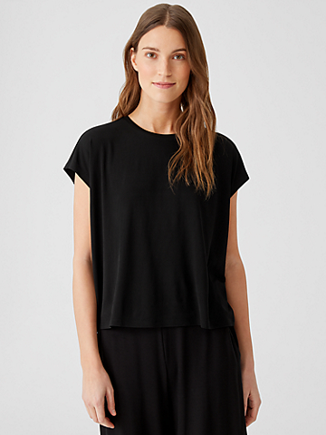 Stretch Silk Jersey Square Top