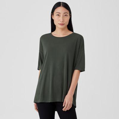 Stretch Silk Jersey U-Neck Top
