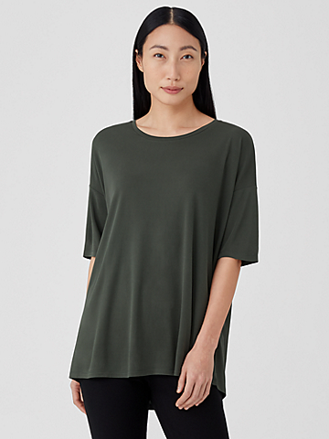 Stretch Silk Jersey U-Neck Top