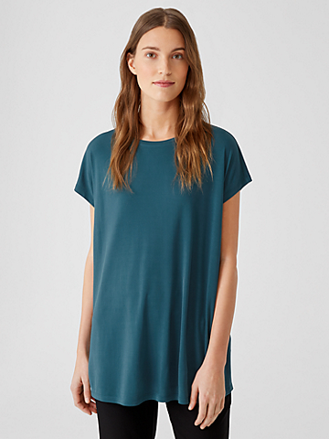 Stretch Silk Jersey Crew Neck Top