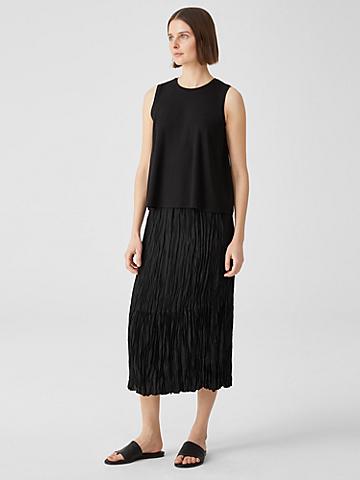 Crushed Silk Habutai Tiered Skirt