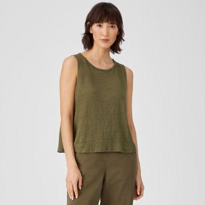 Organic Linen Jersey Round Neck Shell