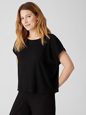 Ribbed Organic Cotton Blend Square Top
