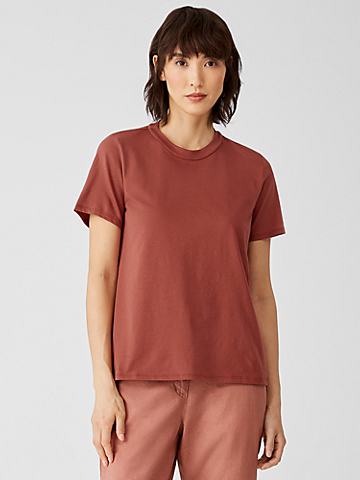 Organic Pima Cotton Jersey Mock Neck Tee