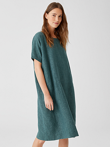 Washed Organic Linen Delave Dress