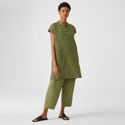 Washed Organic Linen Delave Shirtdress