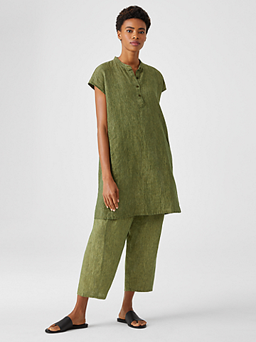 Washed Organic Linen Delave Shirtdress