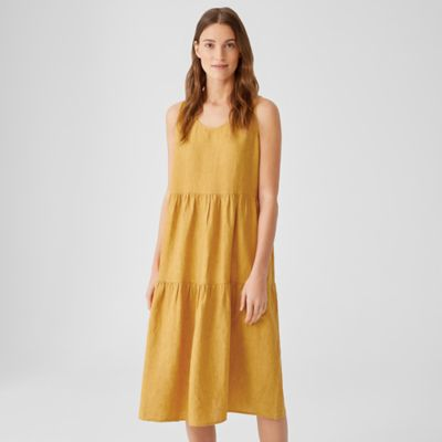 Washed Organic Linen Delave Tiered Dress