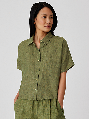 Washed Organic Linen Delave Short-Sleeve Shirt