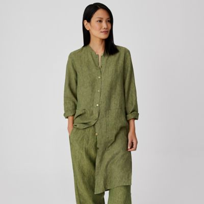 Washed Organic Linen Delave Long Shirt
