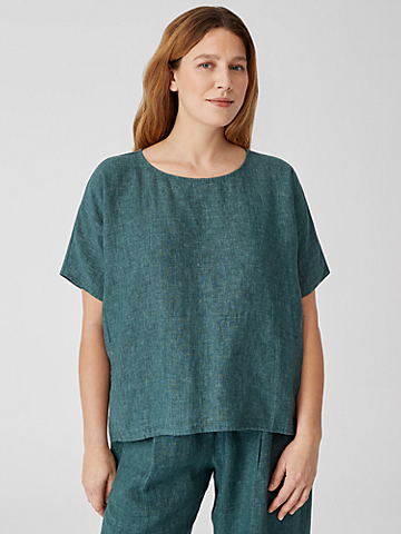 Washed Organic Linen Delave Top