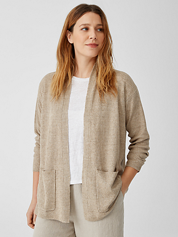 Organic Linen Delave High Collar Cardigan