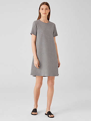 Heathered Organic Cotton Crew Neck Dress