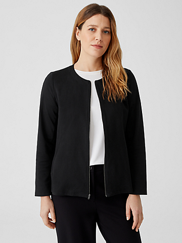 Organic Cotton Ponte Zip-Front Jacket