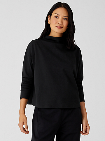Organic Cotton Ponte Funnel Neck Top